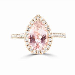 3.44Ct Pear Cut Rose Gold Morganite Solitaire Ring